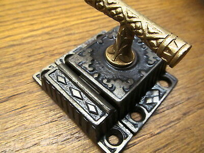 Large Old Eastlake ?? Brass ? Bronze T Handle Cupboard Latch Lock...ornate