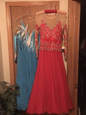 Bright Red Smooth Ballroom Dancing Dress size small.