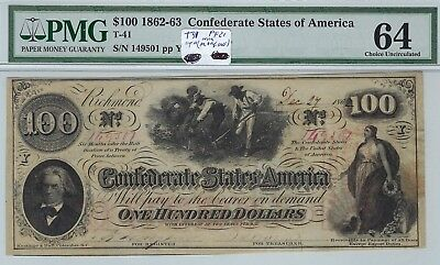 T-41 PF-21 $100 Confederate Paper Money 1862 - PMG Choice Uncirculated 64!