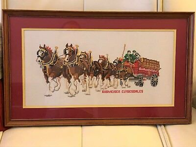Completed Cross-Stitch - Budweiser Clydesdales
