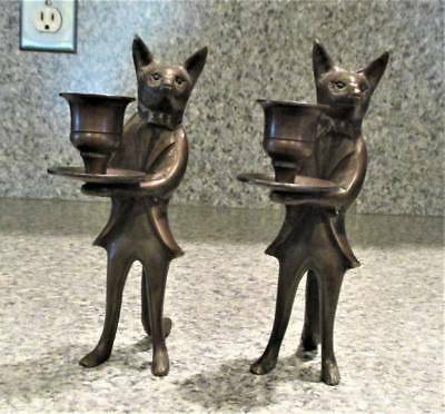 FOX in a TUXEDO CANDLE HOLDERS a PAIR  BRONZE  6 3/4 in TALL VINTAGE