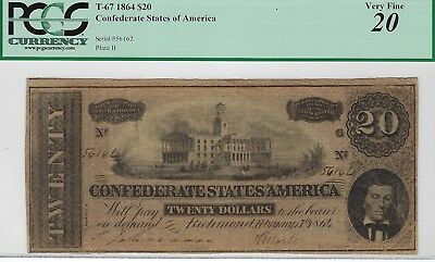 T-67 PF-6 $20 Confederate Paper Money 1864 - PCGS Very Fine 20!
