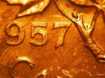 Hanging 7 + Double 57 ***** 1957 One Cent ***** Choice BU