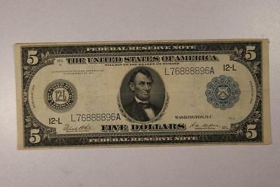 1914 Large Size $5 San Francisco Federal Reserve Note *Nice VF*