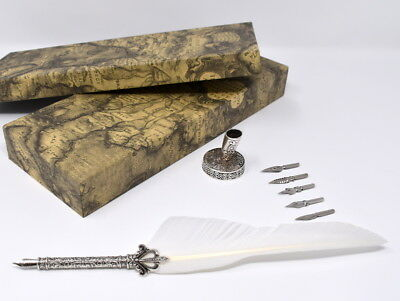 Quill Feather Fountain Calligraphy Pen Gift Set, Five Nibs & A Decorative Stand