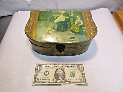 vintage Celluloid Sewing Basket with Dutch Mother & Girl Sewing Scene Lid - NR