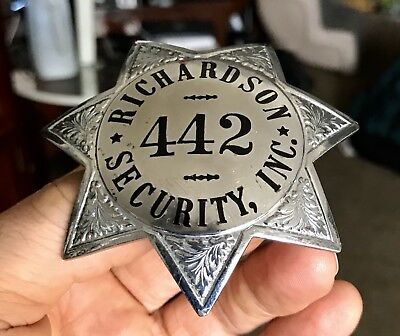 """Badge """"Richardson Security"""" * 7-Point Star * Authentic"""