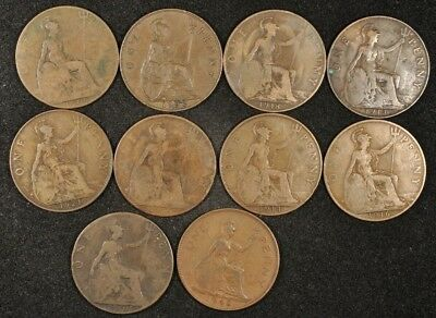1904-1948 Great Britain Lot Of (10) One Penny Coins