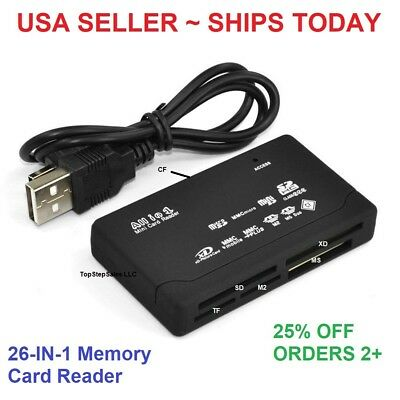 Black Mini 26-in-1 USB 2.0 Universal High Speed Memory Card Reader SD MS XD SDHC