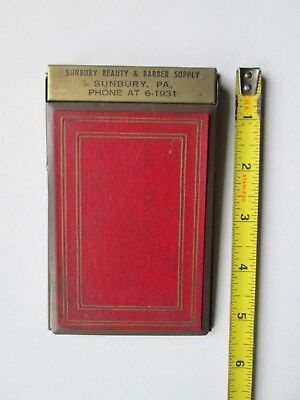 Vintage Sunbury Pa Beauty & Barber Supply Metal Notepad Northumberland County