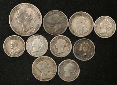 1858-1913 Canada 5 & 10 Cents + 1894 Newfoundland 20 Cents (10) Silver Coins Lot