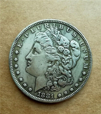 1pc Collection Antique Silver Plated Coin 1881-S , 28g, Dia. 1.46inches Copper