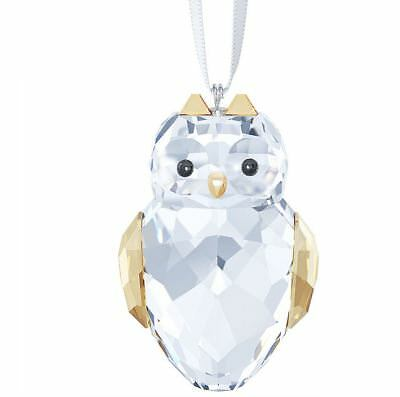 NIB $89 Swarovski Owl Ornament Christmas  Clear Golden Crystal #5135848/5268819