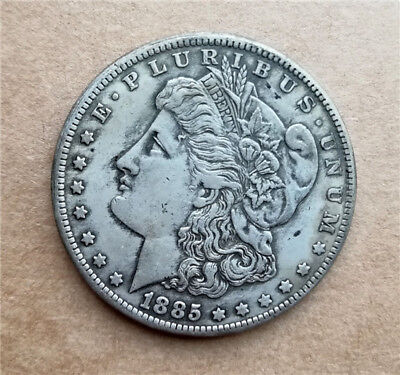 1pc Collection Antique Silver Plated Coin 1885-cc , 28g, 1.46inches Copper