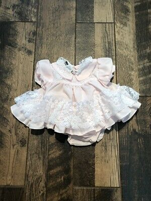 Vintage BABY JO LENE FRILLY LACE RUFFLES Dot PARTY Set 6-9 MONTHS USA MADE PINK