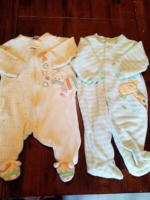 Two Gender Neutral Baby Sleepers Size 3 Months