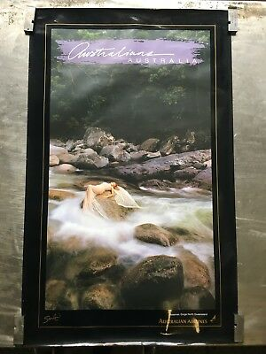 Rare 1990 Vintage Australian Airlines Advertising Poster Mossman Gorge Qld