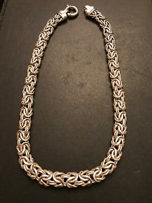 "Stunning Large Solid STERLING SILVER BYZANTINE Link 18"" NECKLACE Italy 🇮🇹 IJC"