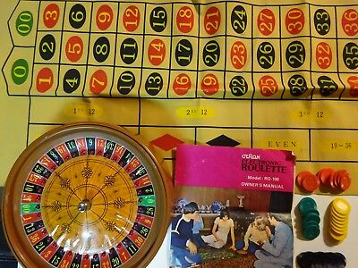 Vintage Otron Electronic Casino Roulette Game Wheel, Mat, Chips Model RG-100