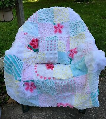 Oh Precious Baby! Handmade Chenille Baby Toddler Quilt Blanket Hofmann Daisy