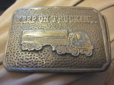Keep On Trucking belt buckle beltbuckle truck shipping Robert Crumb diesel rig