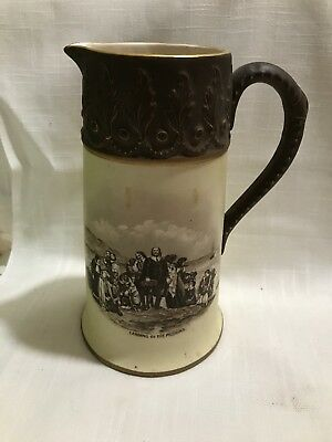 Vintage Hampshire Pottery Tankard Pitcher Landing Of The Pilgrims Keene NH