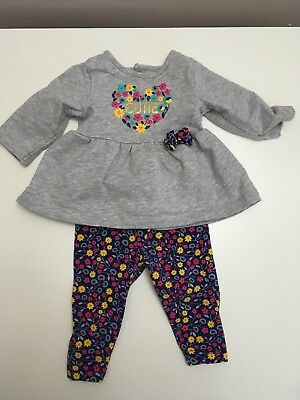 Child of Mine Carters Baby Girls Gray Floral Print Outfit Sz 0-3 Month Preowned