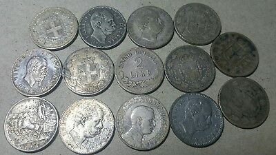 14 TOTAL OLD 1800's ITALY SILVER 2 LIRE****