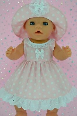 """Play n Wear Doll Clothes To Fit 17"""" Baby Born  PINK POLKA DOT DRESS~HAT"""