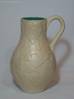 Large Handbuilt Jug, Applied Grapes & Leaves by Bassett, Circa 1930s. GC.