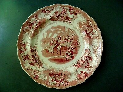 """NAUTICAL ANTIQUE RED TRANSFERWARE 8-1/2"""" PLATE MUSICAL DANCING ON SHIP w ANCHORS"""