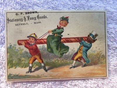 Antique Victorian Trade Card Fancy Goods G. P. Brown Beverly Massachusetts