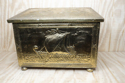 Vintage Hammered Embossed Brass Covered Wood Coal Firewood Box
