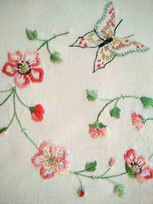 Gorgeous Butterfly & Briar Roses  ~ Vintage Hand Embroidered Centrepiece