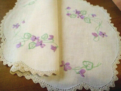 Sweet Delicate Violets ~ Hand embroidered Centrepiece