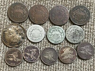 Small Type Coin Lot:  Two Cent Pieces, Flying Eagle Cents, Shield Nickels, etc