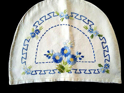 Vintage Blue Asters & Blue Bell Flowers ~ Tea Cosy / Cover
