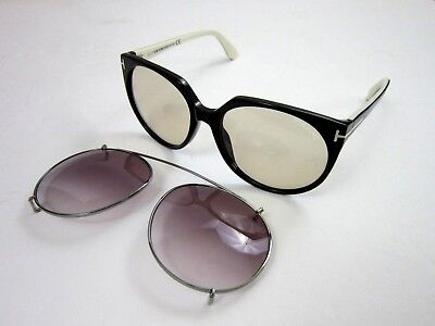 New Tom Ford Women s Sunglasses Agatha Clip On Black Rose Gradient Authentic 521935b62461