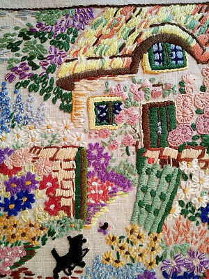 Antique Thatch Cottage, Scotty Dog & Garden ~ Hand Embroidered Picture Panel