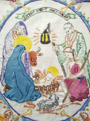CHRISTMAS Vintage Religious Picture - SILENT NIGHT HOLY NIGHT ~ Hand Embroidered