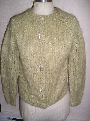 Vintage 60s ITALIAN HAND KNIT 60% MOHAIR Country Set SWEATER  Light GREEN sz S