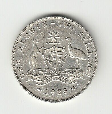 1926 Kgv Australia Florin (92.5% Silver) - 6 Clear Pearls - Great Vintage Coin