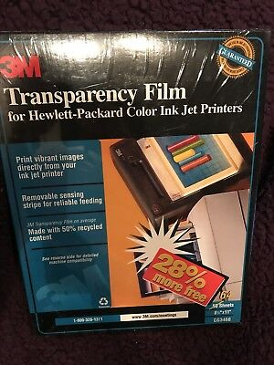 """NEW 3M Transparency Film for Color Ink Jet Printers CG3460 64 Sheets 8.5"""" x 11"""""""