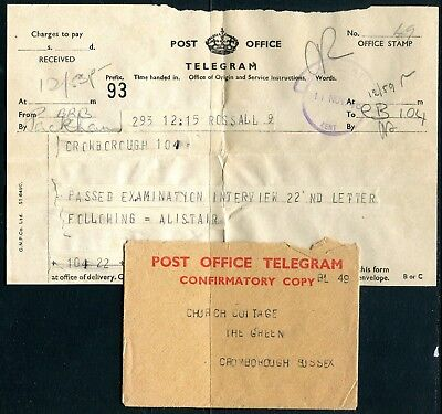 UK Telegram with cover from Kent 11 NOV 46