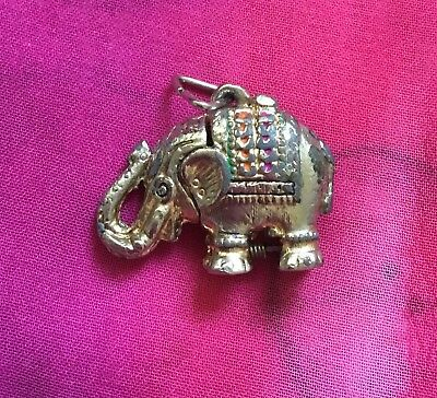 Vintage Antique Gold Enamel Heavy African Elephant Charm Pendant Estate Find Vtg