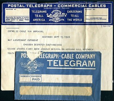 US Telegram with cover to/from Cruiser Despatch San Francisco 15SEP28