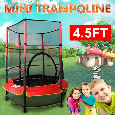 4.5ft MiNi Kids Junior Round Trampoline With Enclosure Safety Net 55'' Exercise
