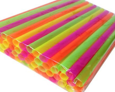 "50 SMOOTHIE STRAWS! ASSORTED NEON - SUPER-WIDETM 1/2"" X 10 1/2""! Poly Bagged."