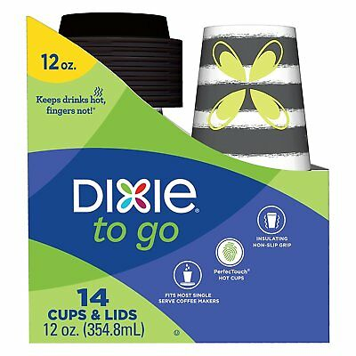 Dixie To Go Disposable Coffee Cups and Lids, 14 Count, 12 Ounce Coffee Cups; May