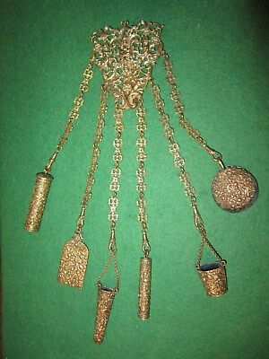 140 year old sewing CHATELAINE 300mm long THIMBLE SCISSORS etc